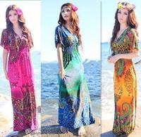 Vestido Longo Sale Dresses 2014 Free Shipping New Arriva 3 Colors Bohemia Dress One-piece Plus Size V-neck Short-sleeve Summer
