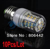 Wholesale 10Pcs/Lot E27 3528 SMD 48 LED Light Bulb Lamp Warm White 200~240V with Transparent Cover 2680