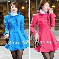 2013 4 colors women's wool coat slim waist slim irregular sweep woolen outerwear