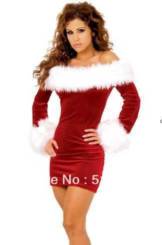Free shipping off-the-shoulder tight cultivate one's morality princess dress skirt sexy Christmas party games take dinner suit(China (Mainland))