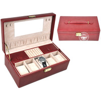 Free shipping Locked watch box, jewellery box. red,brown,black three color optional