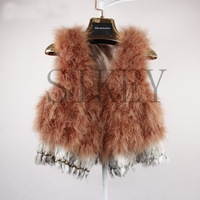 Free shipping 2013 new arrived pure silver Ostrich hair fur coat Silver ostrich feather  fur vest ladies vest wholesale price