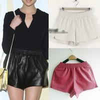 Black White Wine Red Fashion Sexy Womens Ladies Girls Faux PU Leather Hot Mini Short Pants Elastic Waist Size M