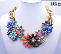 2013 fashion luxury corlorful flower gold big clain vintage necklace beads custome gem collar necklace 9110