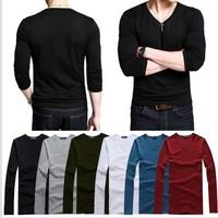 2014 Autumn New Arrival Men Slim Long Sleeve V-Neck T Shirts Multi-Colored Men Basic Shirts Free Shipping