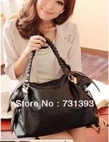 Wave Woven Handbag Large Shoulder Handbag Korean Style Womens PU Leather Handbag Tote Shoulder Bag Free Shipping
