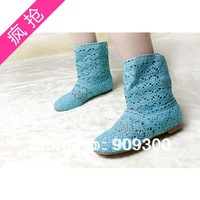 Free shipping  Hot-selling 2013 spring flat cutout boots women's shoes knitted shoes for women
