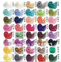 40COLORS Pashmina Silk Scarves & Wraps Solid Tassels Candy Color Size 170x70cm