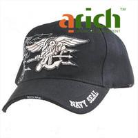 Black Cotton Baseball Hat Leisure Sports Cap with Velcro Tape & Stiff Brim - Navy Seal Emblem