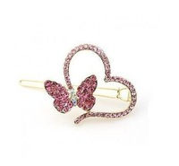1pcs free shipping fashion jewelry  wholesale full crystal peach heart and butterfly hair accessories hair clip