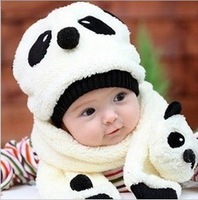 Hot Fashion New Winter baby children's hats baby panda hat scarf 2 pieces 2013 z3