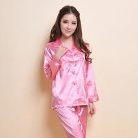 Beautiful spring and summer sleepwear female silk long-sleeve casual lounge brief underwear twinset