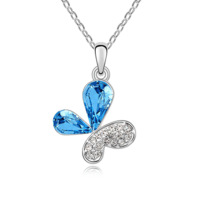 Silver austria crystal necklace female butterfly short design chain fashion accessories