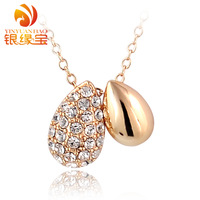 Silver new arrival birthday gift full rhinestone drop rose gold necklace Women short design chain