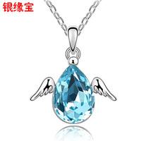 Silver austria crystal necklace short design angel egg necklace female