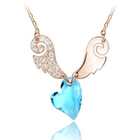 Silver austria crystal Eros sweetheart short design necklace female accessories