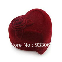 Free shipping Quality velvet heart lovers ring box gift box