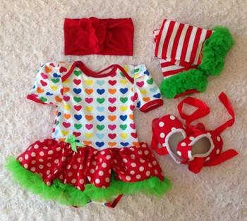 Cute baby tutu skirt romper bow toddler shoes flower headband leg warmer 4pcs/set girls kids jumpsuit clothing Christmas gift