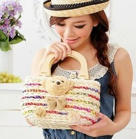 Portable wood to colorful bear straw bag women's handbag woven bag handbag medium-large