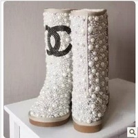 2013 New Brand Women Winter Beige Genuine Leather Pearl Boots Rhinestone Hand Made Ankle Boots
