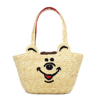 Wc cartoon bear shoulder bag straw bag beach bag