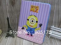 50PCS For Samsung Galaxy Tab 3 10.1 P5200 P5210 Despicable Me 2 Minions Cute Cartoon PU Leather case Folio cover Stand
