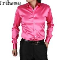 Free Shipping Men's Business Casual Shirt Solid Color Faux Silk Silks and Satins Shirt Men's Long-sleeve Wedding Dress  S-XXXL