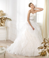 2014 Collection Charming Sweetheart Crystal Ball Gown Tulle Wedding Dress With Feathers Free Shipping