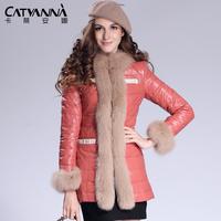 (Free Shipping)Winter Slim Long Genuine Sheepskin Leather Down coat Fox Fur Collar Outerwear Women's Overcoats