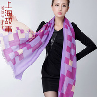 Luxury ring goatswool geometry spring thermal cashmere scarf cape
