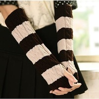 Autumn and winter yarn gloves female winter knitted thermal long gloves fashion semi-finger arm sleeve