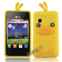 3D Cute Duck Silicon Rubber Back Case Cover Skin for LG T370 T375 Cookie Smart