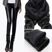 Free shipping Pu Leather Black Leather Pants Women Winter Leggings Velvet Warm and Stretchy L and XL size