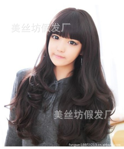 Japan and South Korea non-mainstream wig girls long hair fluffy girls long curly black roll(China (Mainland))