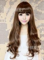 Sweet wig scroll fluffy Qi bangs long hair pear head hair big wave of girls with long hair simulation
