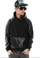 PU Faux Leather Patchwork Hoodie Men/ Long Sleeve Leather Pullover Sweatshirts/ Men's Golden Zipper Hoodie S-XXL
