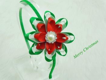 Girls Boutique Christmas Satin Silk Ribbon Flowers Metal Hairband DIY Flowers Headband Baby Hair accessories Photo Prop 12pcs
