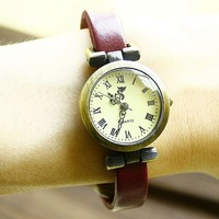 new 2013 Free shipping wholesale dropship 2013 hot sale Roma number Flowery pointer Cow Leather watches ladies fashion