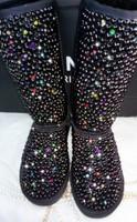 Full rhinestone black pearl gaotong snow boots colorful rhinestone snow boots pearl snow boots