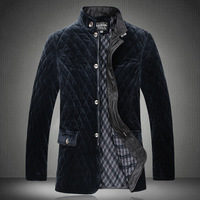 Free shipping 2013 winter quality mercerizing cashmere plaid cotton wadded jacket men's coat for winter plus size 4XL-7XL