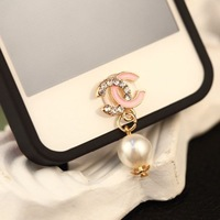 New Exquisite Crystal X C Pendant Home Button Stickers for Iphone DIY Phone Decoration Jewelry Wholesale Free Shipping