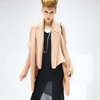 2013 Hitz European and American Fan big leaf collar and long sections women's knit cardigan sweater ST16