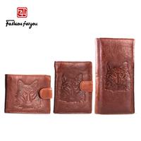 Vintage wax cowhide wallet male long design big capacity commercial men's wallet genuine leather wallet