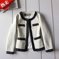 Free shipping Small vintage ol slim beige woolen short jacket top 3