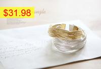 Alloy knitted twisted metal rattan Women wide bracelet woven women cuff bracelets bangles handmade jewelry hot sale