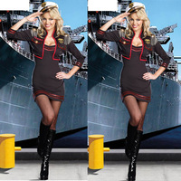 sexy military costumes black spandex navy sailor police suit halloween costume(dress+hat) sex lingerie