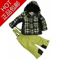 Winter children's clothing male child plaid with a hood wadded jacket child outdoor skiing jacket plaid shirt