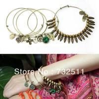 Fashion 5in1 Vintage Flower Bead Multilayer Charm Metal Bangle Lady's Bracelet
