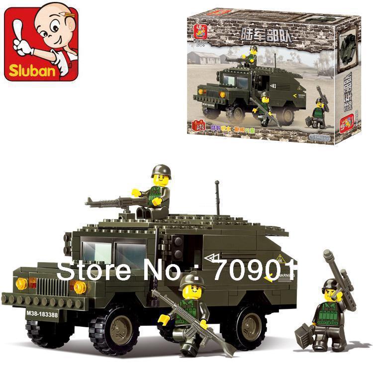 Christmas gift enlighten bricks children toys B9900 DIY educational blocks Army Humvees SLUBAN building block sets free Shipping(China (Mainland))