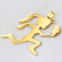 Christmas Gift! New Jewelry 55*53mm 17g 316L Stainless Steel 18K Gold Plated Running Girl Sunny Pendant Necklace, One Free Chain